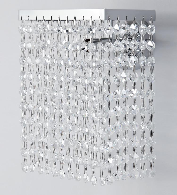 applique da parete rettangolare in cristallo trasparente e montatura cromo lucido